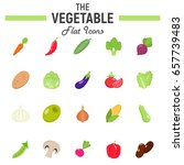 vegetable flat icon set  food... | Shutterstock .eps vector #657739483