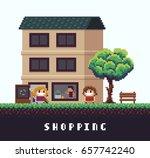 pixel art scene with happy girl ... | Shutterstock .eps vector #657742240