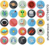 set of cosmos color flat icons... | Shutterstock .eps vector #657744970