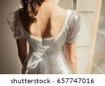 white bride with flowers and... | Shutterstock . vector #657747016