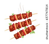 shish kebab on skewers with... | Shutterstock .eps vector #657747814