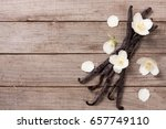 vanilla sticks with flower and...   Shutterstock . vector #657749110