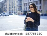 charming hipster girl in trendy ... | Shutterstock . vector #657755380