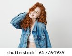 cheerful redhead girl smiling... | Shutterstock . vector #657764989