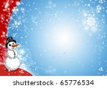 Snowman Xmas Blue and Red Card - stock photo