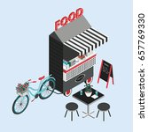 concept of street food. bicycle ... | Shutterstock .eps vector #657769330