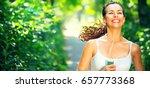 running sporty woman. female... | Shutterstock . vector #657773368