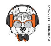 a beautiful dog with headphones ... | Shutterstock .eps vector #657774109