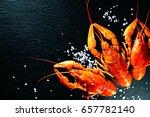 Crawfish Closeup. Red Boiled...