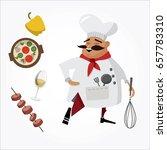 mustachioed chef illustration.... | Shutterstock .eps vector #657783310