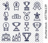 set of 16 trophy outline icons... | Shutterstock .eps vector #657786139
