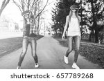 two young girls enjoy virtual... | Shutterstock . vector #657789268