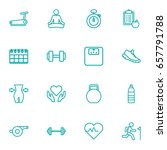 set of 16 bodybuilding outline... | Shutterstock .eps vector #657791788