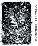 hipster hand drawn crazy doodle ... | Shutterstock .eps vector #657796600