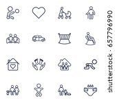 set of 16 family outline icons... | Shutterstock .eps vector #657796990