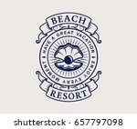 beach resort logo with seashell.... | Shutterstock .eps vector #657797098