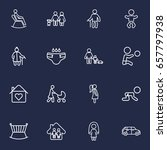 set of 16 family outline icons... | Shutterstock .eps vector #657797938