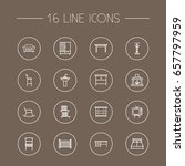 set of 16 decor outline icons... | Shutterstock .eps vector #657797959