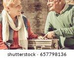 old couple happy retirement.... | Shutterstock . vector #657798136