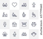 set of 16 family outline icons... | Shutterstock .eps vector #657799660