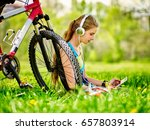bikes cycling girl. girl rides... | Shutterstock . vector #657803914