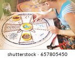 process of mosaic making  young ... | Shutterstock . vector #657805450