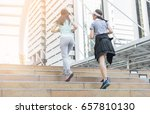 two sports woman running on... | Shutterstock . vector #657810130