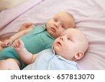 indoor portrait of two young... | Shutterstock . vector #657813070