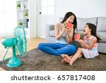Happy Woman And Female Childre...