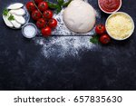raw dough for pizza with... | Shutterstock . vector #657835630