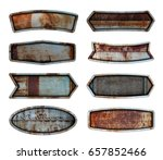 old steel metal sign plate... | Shutterstock . vector #657852466