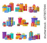 gift box packs composition... | Shutterstock .eps vector #657857044