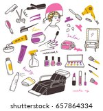 set of beauty salon doodle with ... | Shutterstock .eps vector #657864334