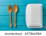 white foods box with spoon on... | Shutterstock . vector #657866584