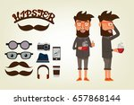 happy hipster style character... | Shutterstock .eps vector #657868144