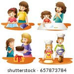 four activities of mother and... | Shutterstock .eps vector #657873784