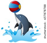 dolphin playing ball in water... | Shutterstock .eps vector #657878788