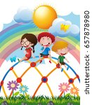 three kids on climbing dome in... | Shutterstock .eps vector #657878980