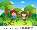 two kids sweeping leaves in the ... | Shutterstock .eps vector #657878998