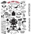 big set of bbq and grill design ... | Shutterstock .eps vector #657885028
