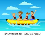 family riding banana boat.... | Shutterstock .eps vector #657887080