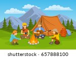 family sitting around campfire... | Shutterstock .eps vector #657888100