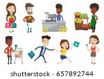 woman holding shopping bags and ... | Shutterstock .eps vector #657892744