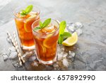 traditional iced tea with lemon ... | Shutterstock . vector #657892990