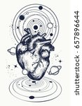 heart in space tattoo. anatomic ... | Shutterstock .eps vector #657896644
