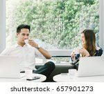 young asian couple or coworkers ... | Shutterstock . vector #657901273