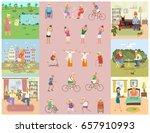 banner of retired elderly... | Shutterstock .eps vector #657910993