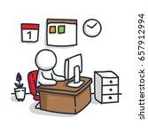 cartoon male describing office...   Shutterstock .eps vector #657912994