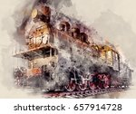 the old old steam locomotive on ... | Shutterstock . vector #657914728