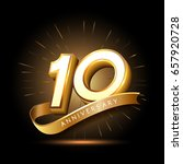 10 years golden anniversary... | Shutterstock .eps vector #657920728